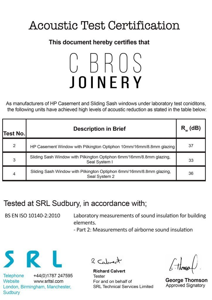 Timber Windows and Doors Manufacturers soundproof certificate